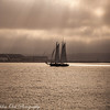 As the clouds cover Point Loma this sail boat catches a brief glimpse of the sun against the backdrop of North Island Naval station.