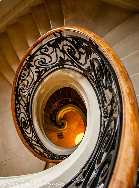 Elegant lines of this staircase from a former Duke's residence show the quality of the workmanship in the old cities of Europe. This one is in Madrid