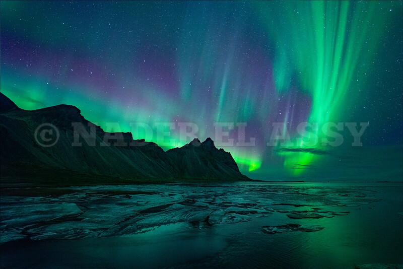 Vestrahorn with Northern Lights