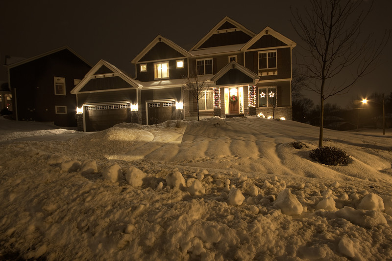 HDR shot of parents' house at night.