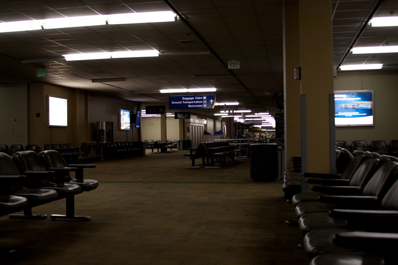 Being the first through security at SJC in the morning afforded me the privilege of bounding through the entire dark terminal to turn on all the motion-sensitive lights. Here is the result of my bounding.
