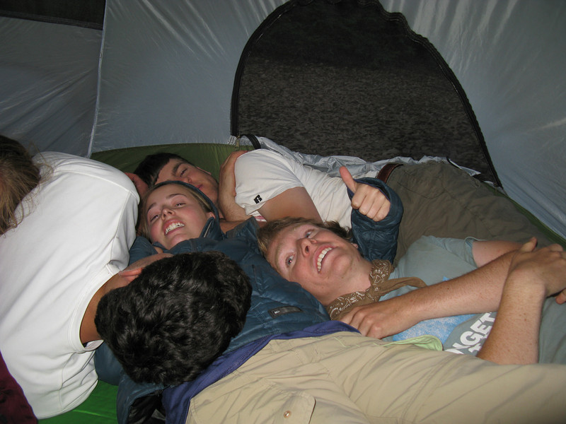 Can 7 people fit in a 3-person tent? Obvi.