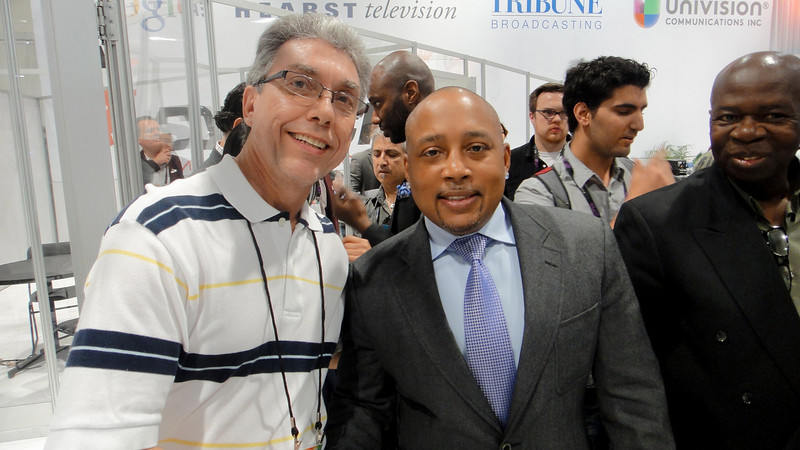"CEO and Founder of  RJTravelMedia Ralph Hajik and Daymond John owner of FUBU ""For Us By Us"" clothing company and from ""Sharks Tank"" get together for a conversation and a picture at NAB (National Association of Broadcasters) Show 2014."