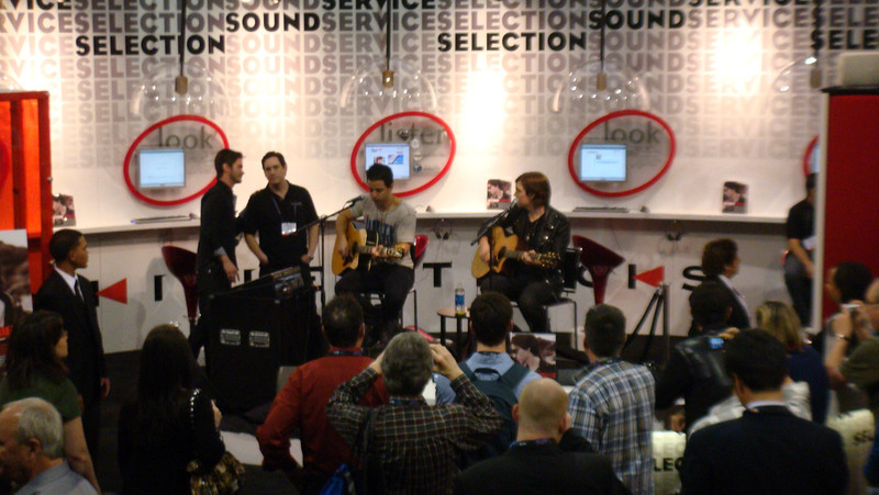 It's time to relax and listen to music at  the Killer Tracks exhibit booth and explore the many selections to be purchased.