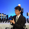 At the Sony presentation the President of Sony shows off the new Sony 7s camera.