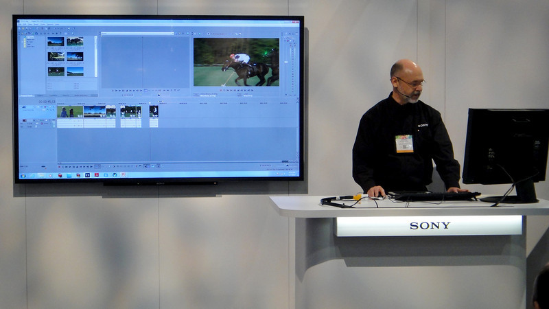 Sony Marketing Director Michael demonstrates the new version of Sony Vegas Pro 13 which will be released by April 17, 2014.