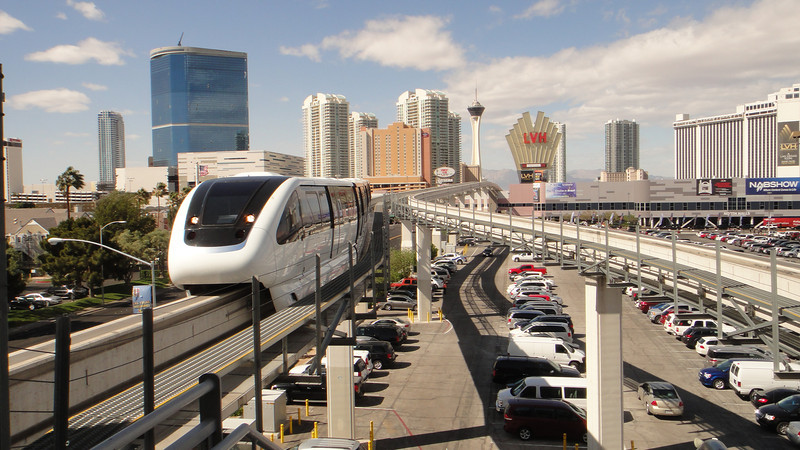 While in Vegas treat yourself to a tram ride and view the new Las Vegas sitting down.