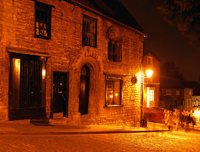 A crowd of ghosts by the Norman House on Steep Hill