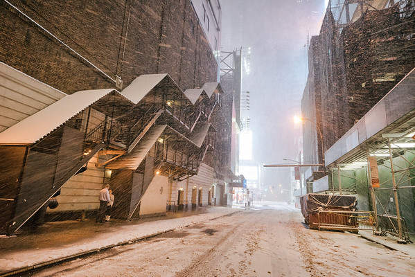 New York City - Snow - Winter Storm - Empty West 47th Street