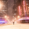 New York City - Snow at Night - Empty Street and Lights