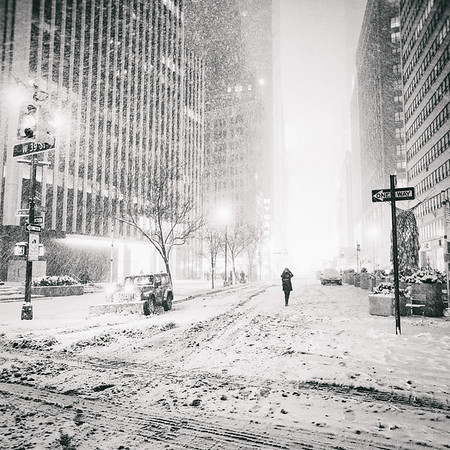 New York City - Snow at Night - Empty Streets - Times Square