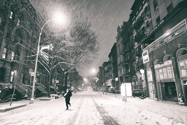 New York City - Snowstorm - Empty St. Mark's Place at Night