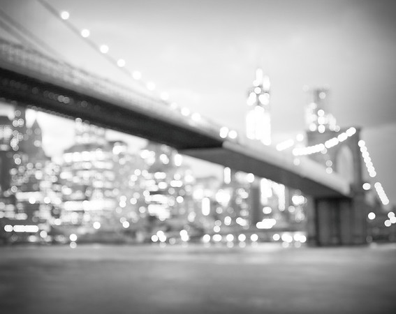 New York City - Lights of the Skyline and Brooklyn Bridge