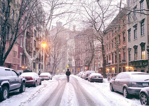 New York City - Snow on a Winter Evening in the West Village
