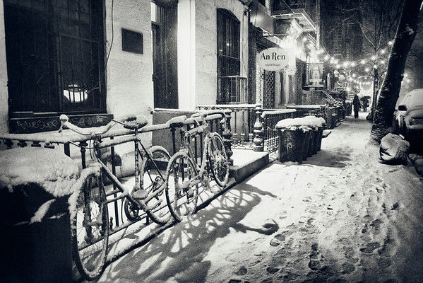 New York Winter Night - Snow Fall in the East Village