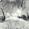 New York City Winter - Snow - Night in Madison Square Park