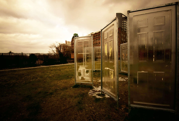 <h2>Opportunity</h2>- By Vivienne Gucwa  Glass doors over frost on a bleak winter day. Taken at Socrates Sculpture Garden located in Astoria, Queens, New York City.