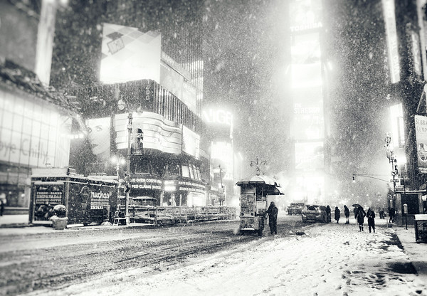New York City - Snow - Winter Night in Times Square