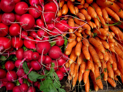 """""""Farmer's Market, part two""""  Radishes and carrots vie for attention."""