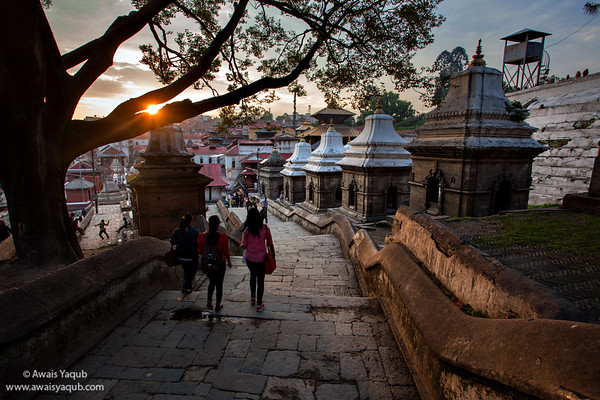 Sunset at World Heritage site of Pashupatinat, huge Mandir located in Kathmandu Nepal.