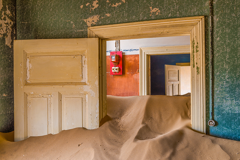 Nam 041 Doorways and Sand, Kolmanskop, Namibia