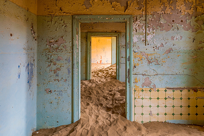 Nam 061 Doorways and Sand, Kolmanskop, Namibia