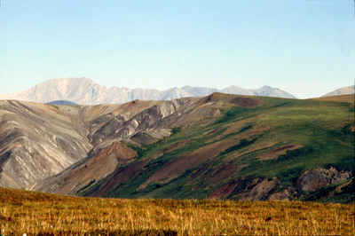North America, USA, Alaska, ANWR, Third Range Mts. from ridge East of Schrader Lake. June, 1990