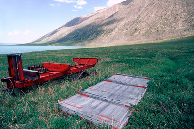 North America, USA, Alaska, ANWR, Abandoned Sled near William Holmes Research Station on Peters Lake, June, 1990