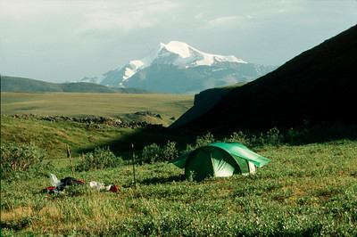 North America, USA, Alaska, ANWR, Campsite on Karen Cr. looking towards Mt. Chamberlin, July, 1990