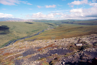 North America, USA, Alaska, ANWR, Sadelrochit Foothills from ridge east of Kekiktuk Creek, June.1990