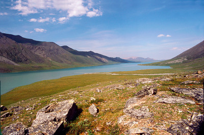 North America, USA, Alaska, ANWR, Peters Lake from near Chamberlin Creek looking north, with William Holmes Research Cabin on shore in distance, July 5, 1990