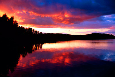 Fiery Sunset reflections in the boundry waters of Minnesota-Ontario