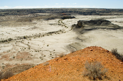 Black Butte and Stream Bed, Bisti Wilderness Badlands, New Mexico