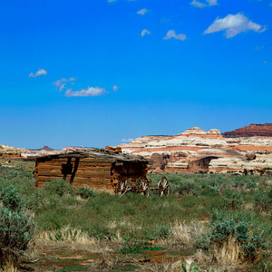 Abandoned Kirk Cabin and wagon frame located in the Salt Creek Canyon, Needles Area of Canyonlands National Park, Utah