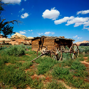 Close-Up of Kirk Cabin and wagon frame located in the Salt Creek Canyon, Needles Area of Canyonlands National Park, Utah