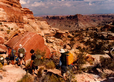 Hikers in Doll's House above Spanish bottom