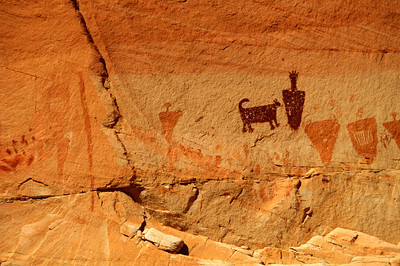 Horseshoe Shelter Pictograph Detail, Mixed Figures, Horseshoe Canyon, Canyonlands National Park