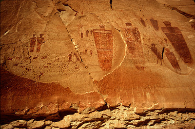 Great Gallery Close-up of large figure pictographs, Horseshoe Canyon, Canyonlands National Park