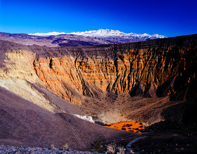 Ubehebe Crater, Death Valley, and Snow-capped Grapevine Mountains
