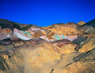 Nobody, North America, USA, California and Nevada, Death Valley National Park, Artists Palatte a Rainbow of  colors in eroded clay deposits at edge of Black Mountains