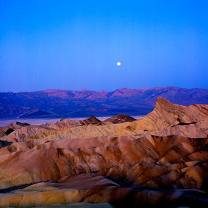 Zabriske Point and Moon, Death Valley NP, California