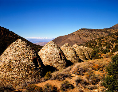 Nobody, North America, USA, California and Nevada, Death Valley National Park, Charcoal Kilns located near Telescope Peak in the Panamint Mountains with a view of the Sierra Nevada Mountains