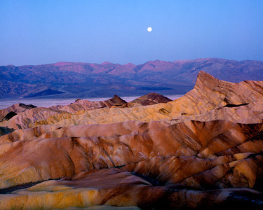 Zabriske Point, Manley Beacon, and Moon over the Panamints