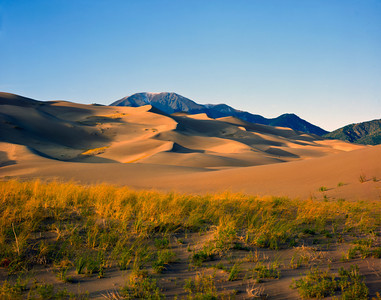 Nobody, North America, USA, California and Nevada, Death Valley National Park, Sand Dunes in Mesquite Flat, and Cottonwood Mountains in the background