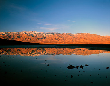 Nobody, North America, USA, California and Nevada, Death Valley National Park, Badwater Basin, Lowest Elevation ln North America, 282 feet below Sea Level, framed by Panamint Range