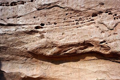 "North America, USA, New Mexico, El Morro National Monument,  Bluff-side Inscriptions. Stop 8 Inscription by ""Peachy"" Breckenridge who was in charge of twenty-five camels on the 1857 U.S. Army expedition led by Lt. Edward F. Beale."