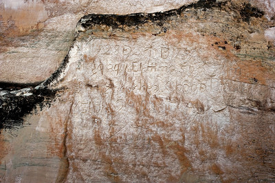 "North America, USA, New Mexico, El Morro National Monument, Bluff-side Inscriptions. Stop 18. ""The 28th day of September of 1737,Licentiate (Bachiller) Don Juan Ignatio of Arrasain arrived here,"" and the second inscription reads ""The 28th day of September of 1737, the illustrious lord Don Martin de Elizacochea, Bishop of Durango [Mexico], arrived here, and the day following went on to Zuni."""