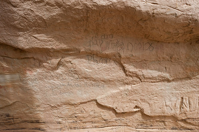 "North America, USA, New Mexico, El Morro National Monument.  Bluff-side Inscriptions. Stop 10. The last Inscription from Spanish Colonial times, ""Andres Romero passed through here in the year 1774."""