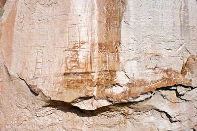 North America, USA, New Mexico, El Morro National Monument.  Bluff-side Indian Petroglyphs