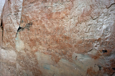 "North America, USA, New Mexico, El Morro National Monument, Bluff-side Inscriptions. Stop 18.  Top reads ""The 28th day of September 1737 Licentiate (Bachiller) Don Juan Ignacio of Arrasain arrived here"" and below reads ""The 28th day of September 1737, the illustrious Lord Don Martin Elizacochea, Bishop of Durango, arrived here, and the day following went on to Zuni""."